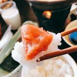 ぬくもりに心なごむ湯宿 星のあかり - 料理写真:明太子ご飯のせ