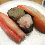 96769922 - かに三種(紅ずわい蟹、かに味噌、本ずわい蟹)