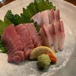 ちねんや~石垣島 - へべす鰤のお刺身とお通しの盛り合わせ