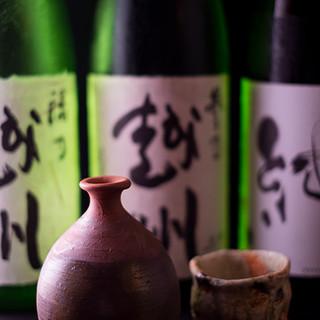 日本酒充実。魚に合うものをご用意
