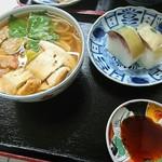 満寿形屋 - 松茸うどん、鯖すしのセット
