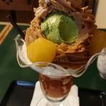96797890 - マロンペーストを食べたら、ほろ苦い抹茶アイスクリーム。