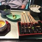 卯月 - 妻の味噌田楽御膳。八寸と紅茶付き。