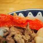 き田たけうどん - 炙り牛トンぶっかけ(紅ショウガ天)