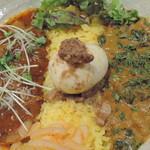 Supaishikareroka - 限定(酸味をぎゅんと効かせた♪しらすと大根のカレー)×野菜コルマ+るーろー煮卵