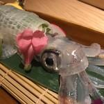 玄海の活魚と糸島直送の食 博多居酒屋 どげん海 - ヤリイカの活き造りアップ