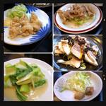 盛苑 - 青梗菜痛め・唐揚げ・豚耳・豚ガツ広東風・辛味塩漬豆腐