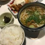 うどん屋 米ちゃん - Cセット(チキン南蛮3個/うどん〈小〉/ごはん〈小〉/漬物)2018.11.20