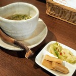 Saiyuuki - セットのスープとザーサイ、メンマ