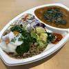 リコ カリー - 料理写真:「チキンと豆と焼き茄子のインド風マサラカレー&さつま芋とブロッコリーの柚子胡椒マヨ和え」650円に+50円でガパオあいがけ