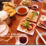 地魚屋台とっつぁん - 赤貝刺、焼き大あさり(ウチムラサキ)、かつおのたたき、天ぷら