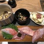 96973735 - 季節の酒肴3種 と地きんめ鯛お造り4種食べ比べ