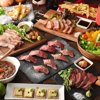 2.5H飲放+牛ステーキ・黒毛和牛肉寿司コース4000円~!