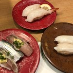 廻鮮寿司 かねき  - 料理写真:光物三昧、大・生エビ、つぶ貝