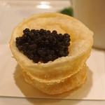 レンゲ - 上海蟹ミソのカスタードの揚げ餃子 オシェトラのキャビアを添えて