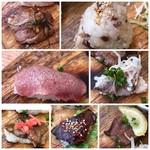 肉寿司ちょんまげ - ◆基本の7貫は「ミスジ」「豚の炙り」「牛すじ煮込みが入ったおにぎり」「たん3種」「牛ハツ(だったような)」 タンが多いですね。ミスジ以外は普通で、どれも噛みごたえのある食感でした。