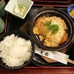 鍛冶屋 文蔵 - 豚ロースカツの卵とじ定食¥820-