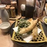 大衆天ぷら まねき屋 - 晩酌セットの天ぷら三品