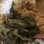 97070321 - ツルムラサキのテルダーラ添え オクラのマスタード 鶏キーマ