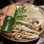 97070984 - 名物鶏つくね付 名古屋コーチンのすき焼き鍋
