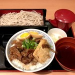 六三郎 - 煮込み丼(大盛り) + もりそば(大盛り)