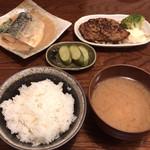 ごはんや まかない - 料理写真:サバのみそ煮とハンバーグ 700円