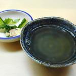 羽田市場 ギンザセブン - 花咲蟹スープ、薬味付