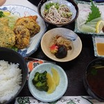 かさすぎ - しいたけ定食(1340円)