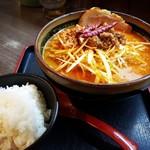 味噌屋麺四朗 - 辛味噌ラーメン+肉ネギ+炙りチャーシュー1枚