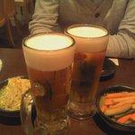 日本橋焼餃子 - プレミヤムモルツで乾杯