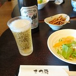 97135894 - ビール、揚そば、柿のサラダ