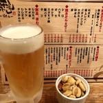97143473 - 生ビールとローストナッツ