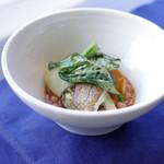 レストラン ボンヌママン ノブ - コロ鯛のむし焼きミネストローネ風