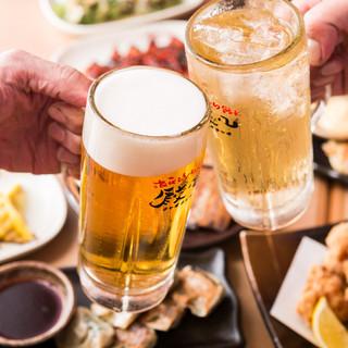まずはビールで一杯♪種類豊富なドリンクの数々