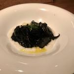 97175769 - スミイカとマコモダケの墨煮・白ポレンタ
