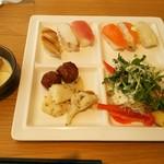 97186202 - お寿司、白身魚のバター炒め・肉団子、サラダ