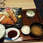 とんかつ和幸 - ロースカツ御飯1280円とエビフライ1本350円
