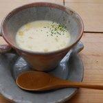山の家はせがわ - ランチについてたコーンスープ