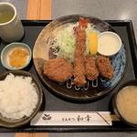 とんかつ和幸 - 広島産牡蠣・海老・ひれかつ定食(1,490円) 2018.11