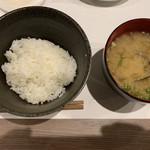 旬菜串焼き 彩 - ご飯とお味噌汁