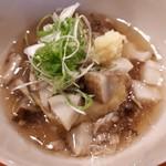 97224349 - 赤茄子の天ぷら 冬野菜の炊き合わせ