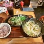 武州うどんあかねandみどりダイニング - ハンバーグ定食:ネギ塩