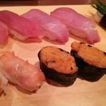 寿司 魚がし日本一 - マグロ・ハマチ・芽ネギ・赤貝・ウニ・カニ身