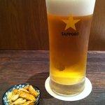 韓国の家庭料理 はなだ - ビールにお通し付