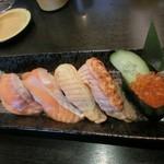 廻鮮寿し たいの鯛 - サーモンづくし