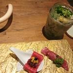 97324315 - カクテルサラダ&お肉の刺身と肉寿司