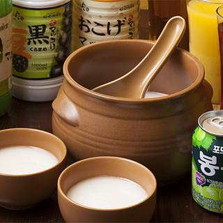 韓国焼酎やマッコリが色々楽しめます!飲み放題付コースも有◎