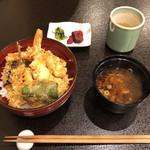 天ぷら 花れ 吉祥寺 - 天丼 ¥1,080 (お新香 しじみの赤出汁 サラダ付き)