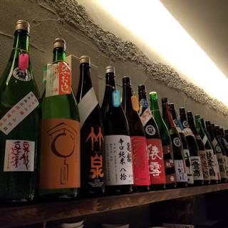 道産日本酒はもちろん、各地の地酒<約65銘柄>を常時ご用意。
