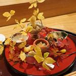 日本料理 太月 - 八寸:鮟肝、なまこ酢このわたのせ、神奈川松輪サバ 、姫くわい、蝦夷あわび、あるの実(なし)